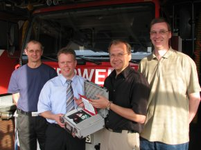 Rüdiger Stephan (Gerätewart), Peter Schmidt (Ortsbrandmeister), Jens Warncke (Vorsitzender Förderverein), Matthias Grupe (Beisitzer Förderverein)