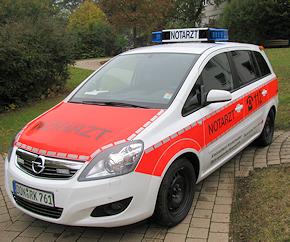 NEF auf Opel Zafira 1.9 CDTI des BRK Nordschwaben. Foto: BRK KV Nordschwaben