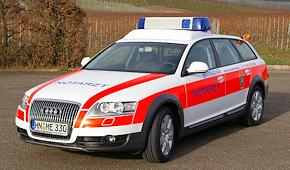 Mietfahrzeug bei Mittelstädt: NEF auf Audi A6 allroad quattro 2.7 TDI. Foto: Mittelstädt
