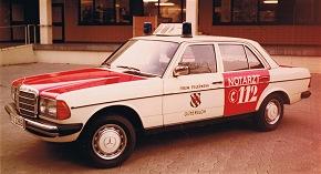 Ein Mercedes 230 diente 1985 als NEF (Foto: Stadt Gütersloh)