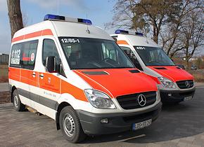 KTW auf Mercedes Sprinter 313 CDI mit Ausbau von Ambulanz Mobile. Foto: JUH RV Südbrandenburg