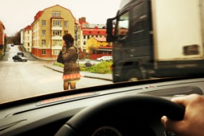 Notbremsassistent in Aktion (Foto: Volvo)