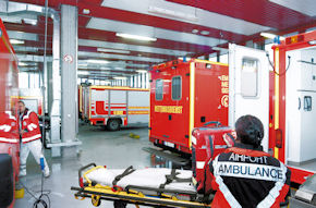 Blick in die Rettungswache am Frankfurter Flughafen. Foto: Fraport AG