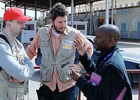 Die ASB-Mitarbeiter Ivan Marin und Axel Schmidt waren Teil des UN-OCHA-Teams, das im Flüchtlingslager Camp Choucha rund 400 Personen zu ihrer Situation befragt hat.