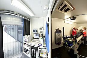 Blick in die rollende Stroke Unit (Foto: Klinik f. Neurologie, Uni Saarland)