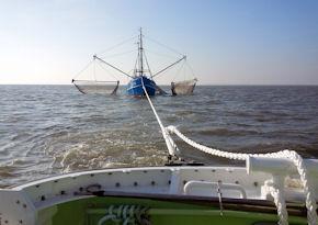 """Krabbenkutter im Schlepp: Die Seenotretter der Station Eiderdamm bringen die """"Atlantik"""" sicher in den Hafen. Foto: DGzRS"""