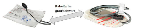 """Defibrillations-/Stimulationselektrode vom Typ """"CorPatcheasy pre-connected"""" mit grau/schwarzem Kabel. Foto: Fa. GS"""