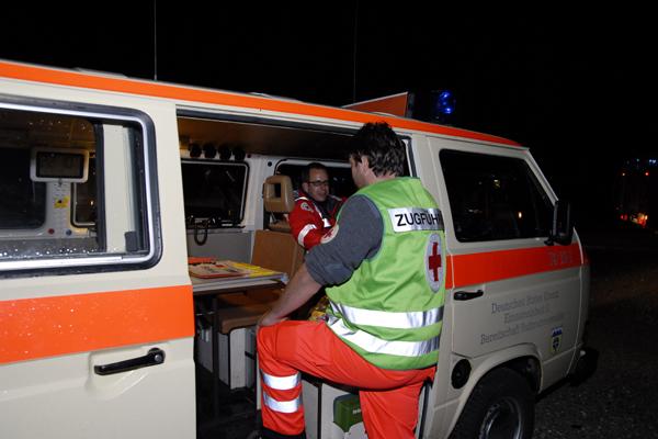 Übung mit THW, Feuerwehr, DRK auf dem Truppenübungsplatz bei Stetten am kalten Markt. Julian Bauder