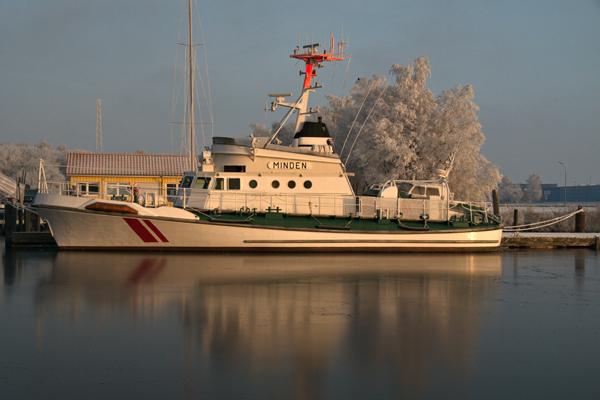 Der ehemalige Seenotrettungskreuzer Minden, derzeit in Wilhelmshaven. Foto: DGzRS