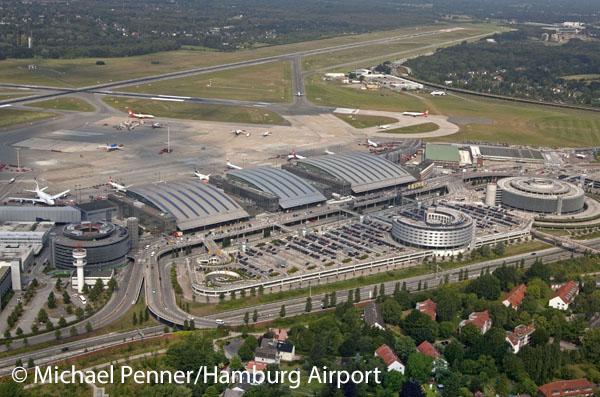 Terminals, Jets, Hotel, Parkhäuser, Wohnbebauung