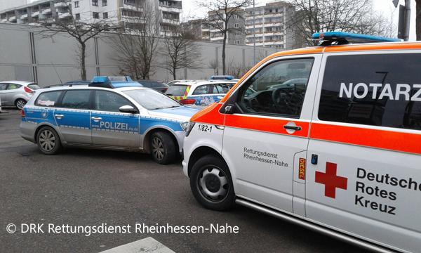 Polizei und NEF an der Einsatzstelle_DRK